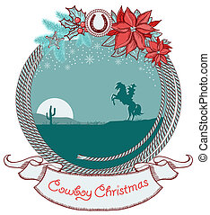 American cowboy Christmas card background with cowboy on horse