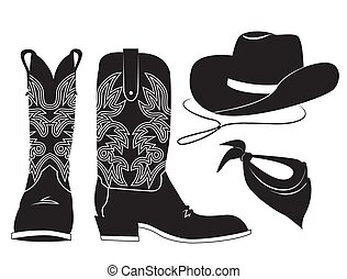 American cowboy clothes. Vector black graphic illustration of western boot cowboy hat and bandanna isolated on white