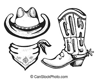 American cowboy clothes. Vector western boot cowboy hat and bandanna isolated on white