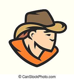 American cowboy head vector sign
