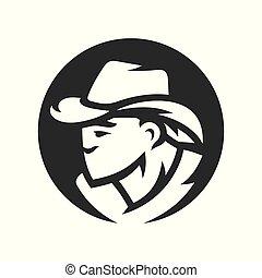 American cowboy head vector silhouette sign
