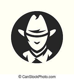 American cowboy head vector simple silhouette Illustration.