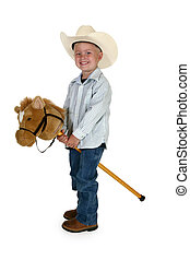 American Cowboy - Little American cowboy with toy horse. No ...