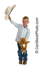 American Cowboy - Little American cowboy with toy horse. No...