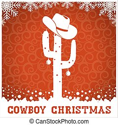 American Cowboy red christmas card with cactus and text