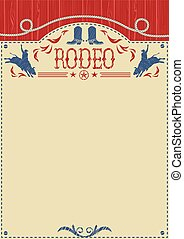 American cowboy rodeo poster for text. Cowboy riding wild bull