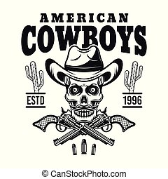 American cowboy vector emblem with skull in hat