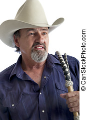 American cowboy with bullwhip