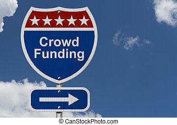American Crowd Funding Highway Road Sign