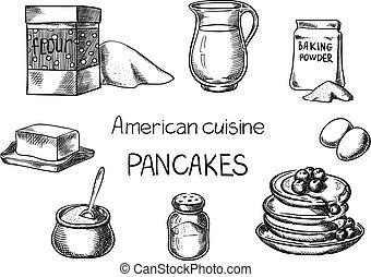 American cuisine. - Creative conceptual vector. Sketch hand ...