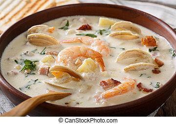 American cuisine: New England clam chowder soup macro....
