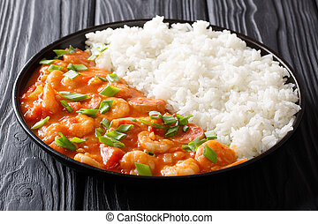 American cuisine: spicy gumbo with prawns, sausage and rice...