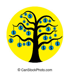 American currency tree vector