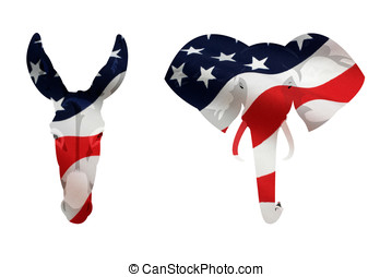 American Democrat Donkey and Republican Elephant Symbol