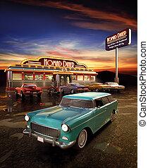 American Diner - Retro American diner at dusk