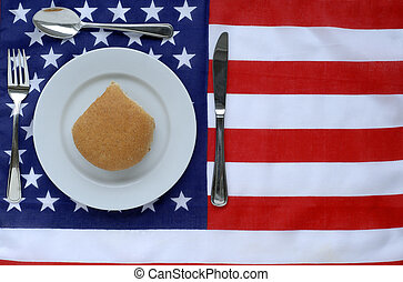 American Dinner - Dinner Place Setting With American Flag...