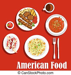 American dinner icon with jambalaya with rice and meat balls, vegetarian chilli, grilled beef steaks with sliced vegetables and ketchup, coffee served with banana split dessert, topped with whipped cream and fruity sauce. Flat style