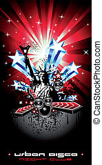 Background for Disco Flyers with USA Flag motive - American...