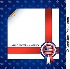 American document template with rosette on blue starry ...