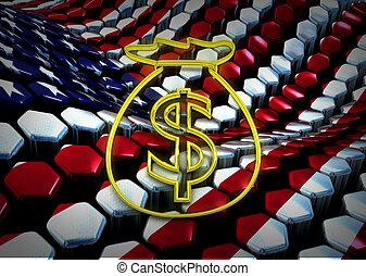american dolar illustration with usa flag background