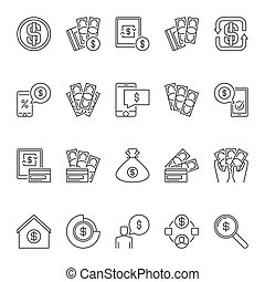 American Dollar and Money vector outline icons or symbols