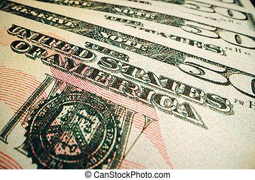 American dollar banknotes close up, macro photo