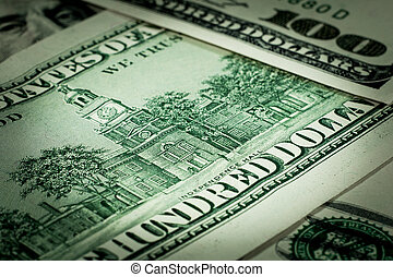 American dollar banknotes close-up