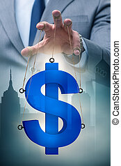 American dollar in floating exchange rate concept