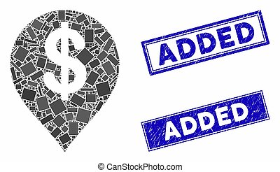 American Dollar Marker Mosaic and Grunge Rectangle Added Seals