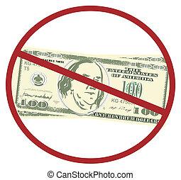 American dollar on red ban