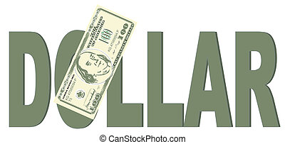 American dollar peek up from word