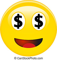 American dollar smiley emoticon. Yellow laughing 3d emoji with black USD symbols in place of eyes and red opened mouth.