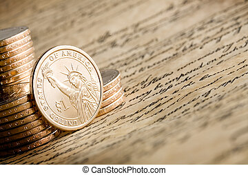 american dollar - dollar coin depicting the Statue of...