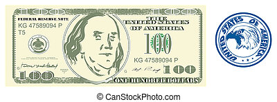 American dollar with blue print