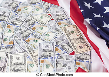 American dollars bills with flag background