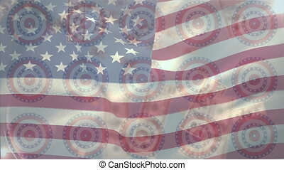Animation of circles spinning with American flag  stars and stripes with American dollar banknotes floating. Finance patriotism concept digitally generated image.