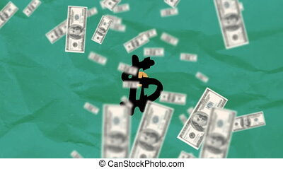 American dollars falling over Dollar symbol against green crumpled paper in background