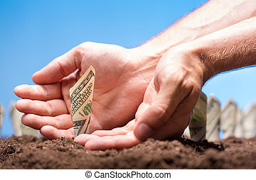 American dollars grow from the ground with care of hands