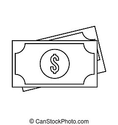 American dollars icon, outline style
