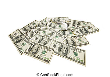 American dollars isolated on the white background
