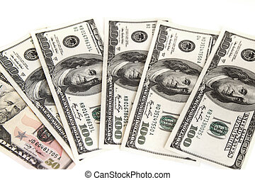 American dollars on the white background