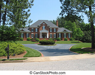 american dream house - red brick american house
