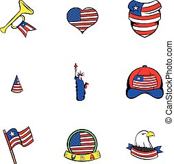 American dream icons set, cartoon style