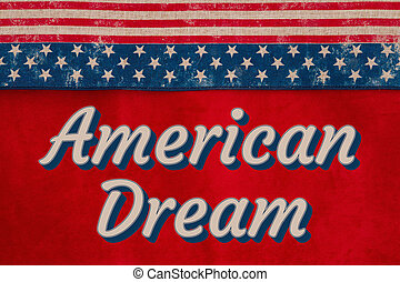 American Dream type message with USA stars and stripes burlap ribbon with stars
