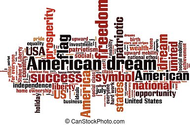 American dream word cloud concept. Vector illustration