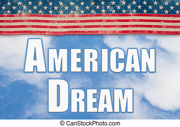 American Dream word message with retro USA stars and stripes ribbon
