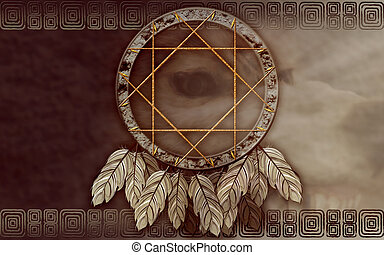 American dreamcatcher with wolf eye - We see illustration of...