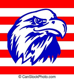 American eagle and strispe with USA flags. Vector