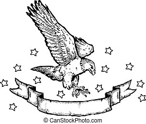 American Eagle & Banner i - An original pen and ink...