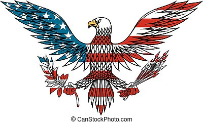American eagle colored in USA flag colors - American eagle...